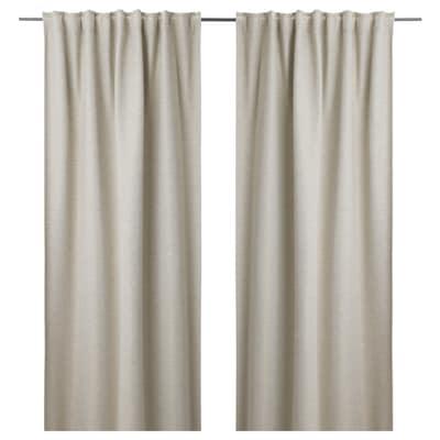 KALAMONDIN Room darkening curtains, 1 pair, beige, 145x135 cm