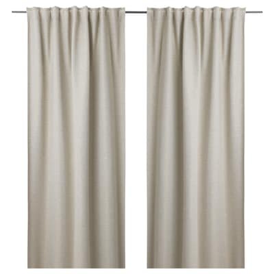 KALAMONDIN Room darkening curtains, 1 pair, beige, 145x250 cm