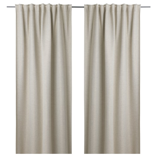 KALAMONDIN room darkening curtains, 1 pair beige 250 cm 145 cm 2.59 kg 3.63 m² 2 pack
