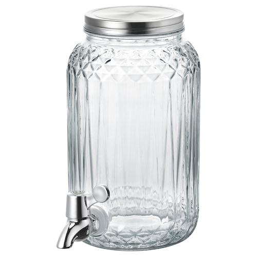KALASFINT jar with tap clear glass 21 cm 25 cm 3 l