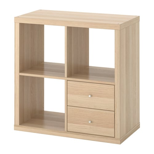timeless design 68a52 40cb6 KALLAX Shelving unit with drawers, white stained oak effect