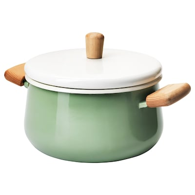 KASTRULL Pot with lid, green, 3 l