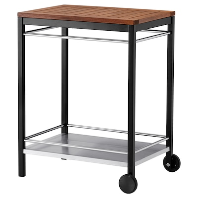 KLASEN Trolley, outdoor, stainless steel/brown stained