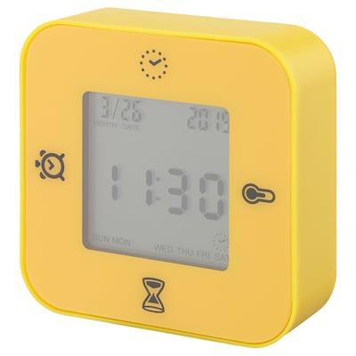 KLOCKIS Clock/thermometer/alarm/timer, dark yellow