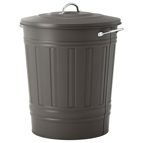 KNODD Bin with lid, grey, 40 l