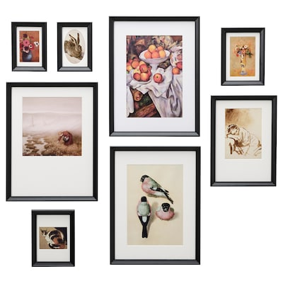 KNOPPÄNG Frame with poster, set of 8, small birds