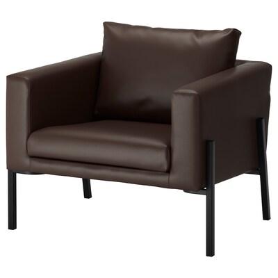 KOARP Armchair, Farsta dark brown/black