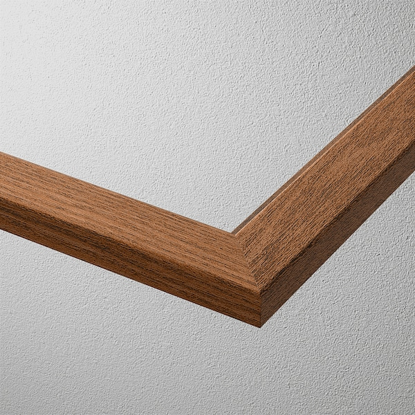 KOMPLEMENT Glass shelf, brown stained ash effect, 75x58 cm