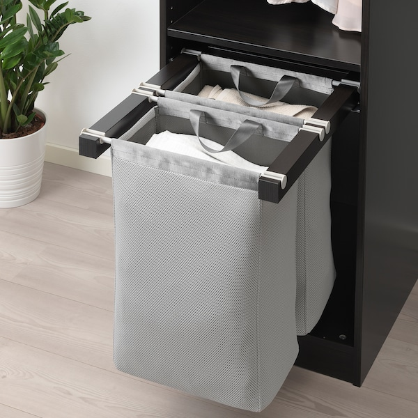 KOMPLEMENT Pull-out storage bag, black-brown, 50x58x48 cm