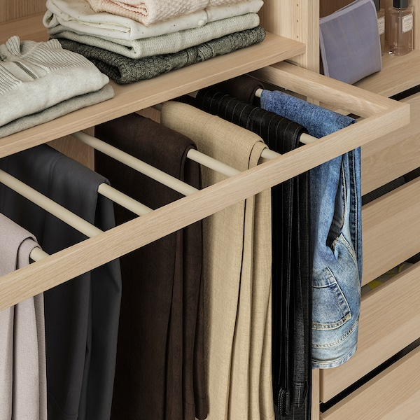 KOMPLEMENT Pull-out trouser hanger, white stained oak effect, 100x58 cm