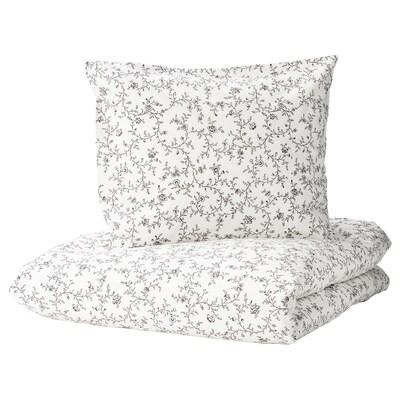 KOPPARRANKA Duvet cover and 2 pillowcases, white/dark grey, 200x200/50x60 cm