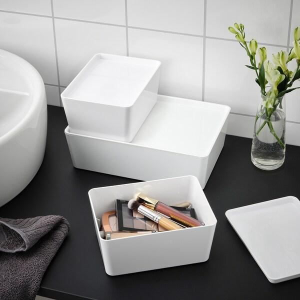 KUGGIS Box with lid, white, 13x18x8 cm