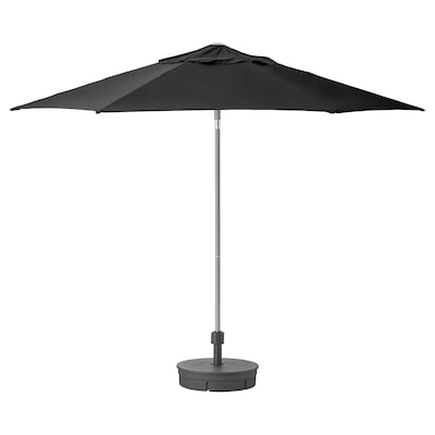 KUGGÖ / LINDÖJA Parasol with base, black/Grytö dark grey, 300 cm