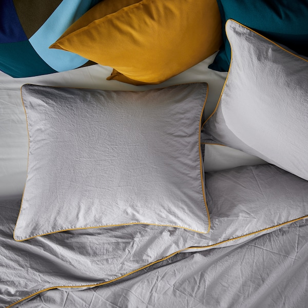 KUNGSBLOMMA Quilt cover and 2 pillowcases, grey/yellow, 200x200/50x60 cm