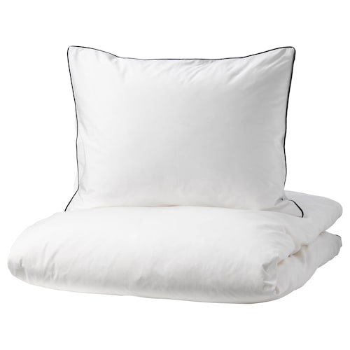 KUNGSBLOMMA quilt cover and pillowcase white/grey 200 /inch² 1 pack 200 cm 150 cm 50 cm 60 cm