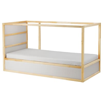 KURA Reversible bed, white/pine, 90x200 cm