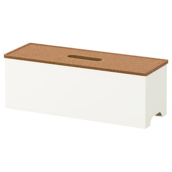 KVISSLE Cable management box, cork/white