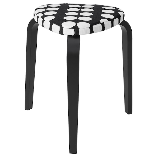 KYRRE Stool with cover, black/black/white