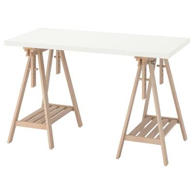 LAGKAPTEN / MITTBACK Desk, white/birch, 120x60 cm