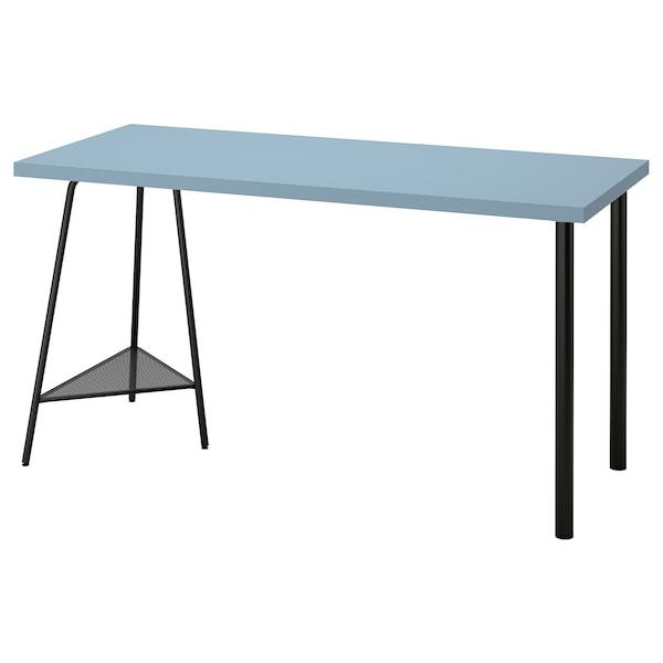 LAGKAPTEN / TILLSLAG Desk, light blue/black, 140x60 cm