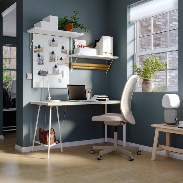 LAGKAPTEN / TILLSLAG Desk, white, 140x60 cm