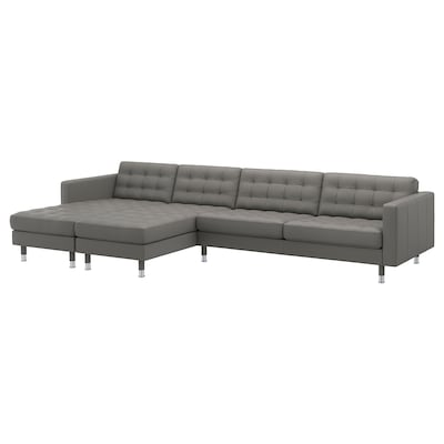 LANDSKRONA 5-seat sofa, with chaise longues/Grann/Bomstad grey-green/metal