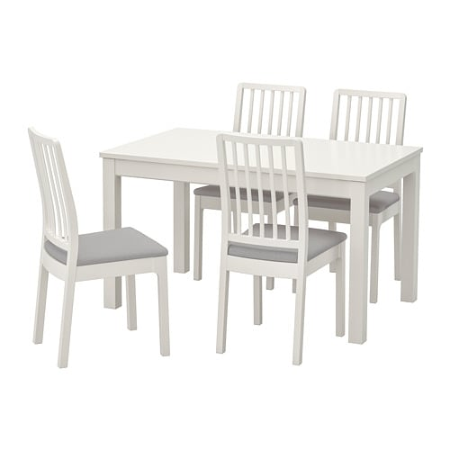 LANEBERG / EKEDALEN Table and 4 chairs, white, white light grey
