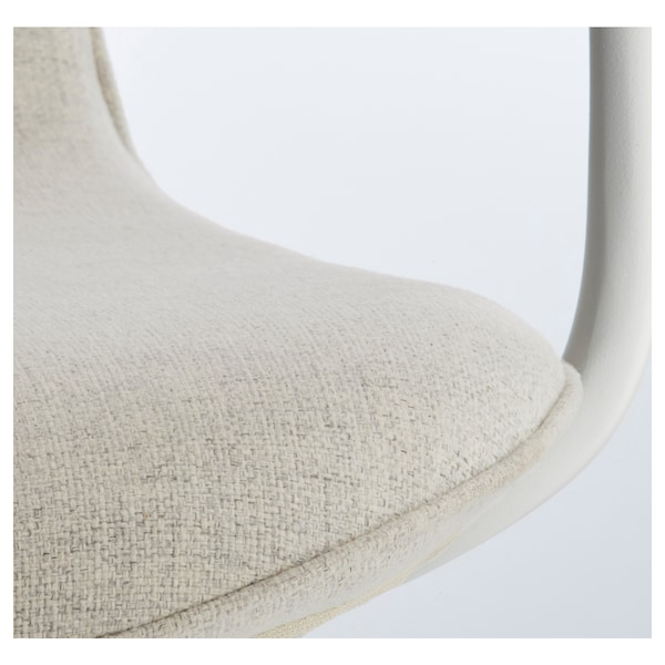 LÅNGFJÄLL Office chair with armrests, Gunnared beige/white