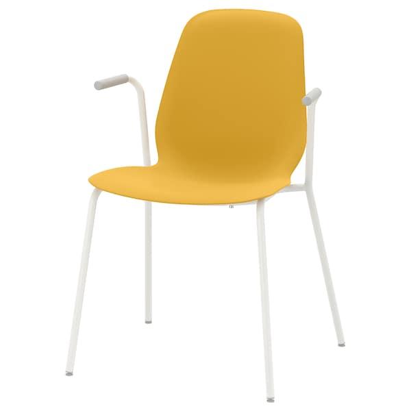 LEIFARNE Chair with armrests, dark yellow/Dietmar white