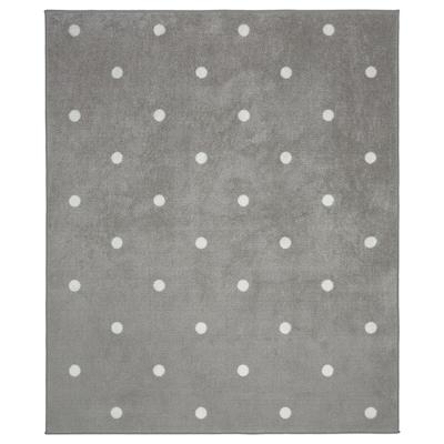 LEN Rug, dotted/grey, 133x160 cm