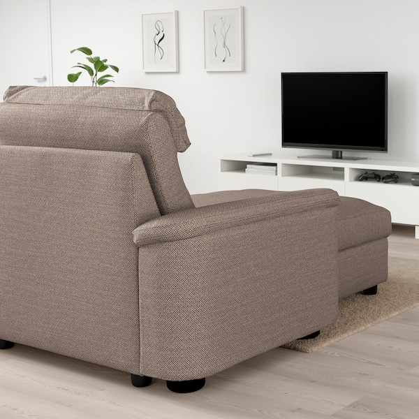 LIDHULT 4-seat sofa, with chaise longue/Lejde beige/brown