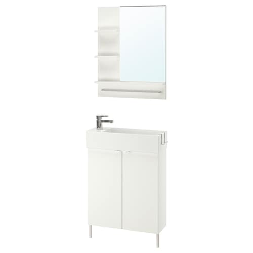 LILLÅNGEN / LILLÅNGEN bathroom furniture, set of 5 white/Ensen tap 62 cm 60 cm 49 cm 89 cm