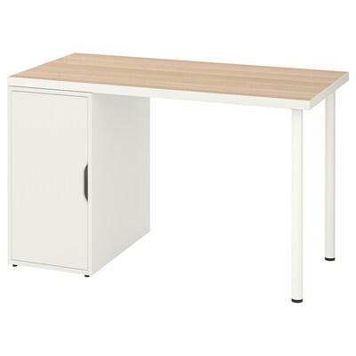LINNMON / ALEX Table, white white stained oak effect/white, 120x60 cm