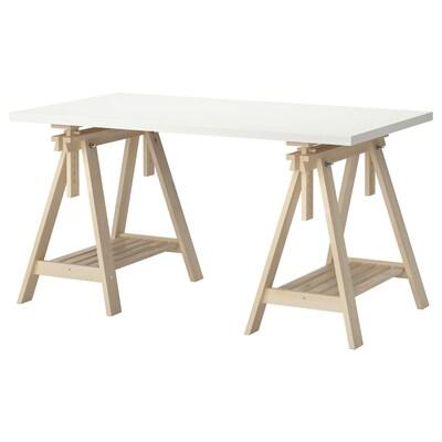 LINNMON / FINNVARD Table, white/birch, 150x75 cm