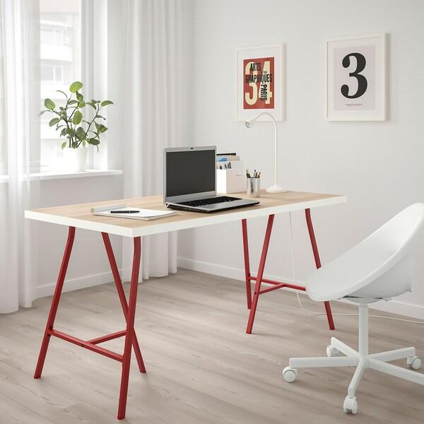LINNMON / LERBERG Table, white white stained oak effect/red, 150x75 cm