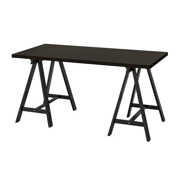 LINNMON / ODDVALD Table, black-brown/black, 150x75 cm