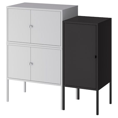LIXHULT Cabinet combination, grey/anthracite, 95x35x92 cm