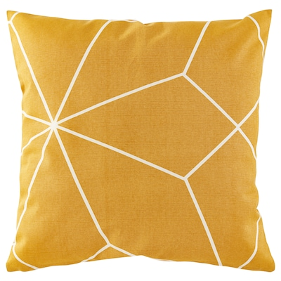 LJUV Cushion cover, yellow/printed, 50x50 cm