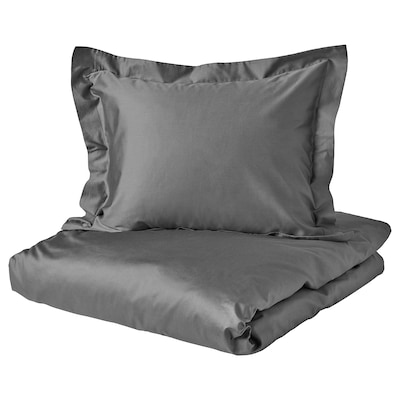 LUKTJASMIN Quilt cover and pillowcase, dark grey, 150x200/50x60 cm