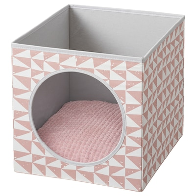 LURVIG Cat house with cushion, pink/pink, 33x38x33 cm