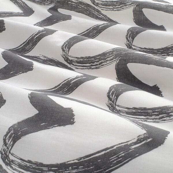 LYKTFIBBLA Duvet cover and 2 pillowcases, white/grey, 200x200/50x60 cm