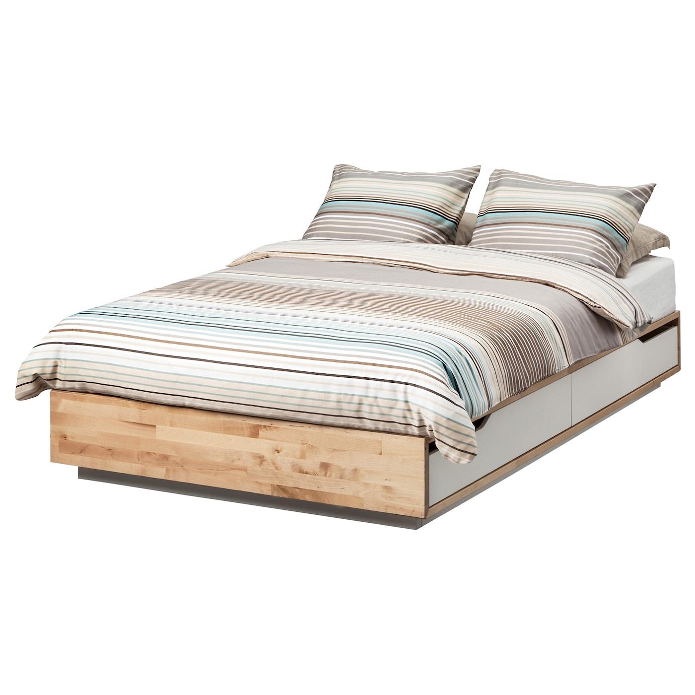 Mandal Bed Frame With Storage Birch White 120x200 Cm Ikea