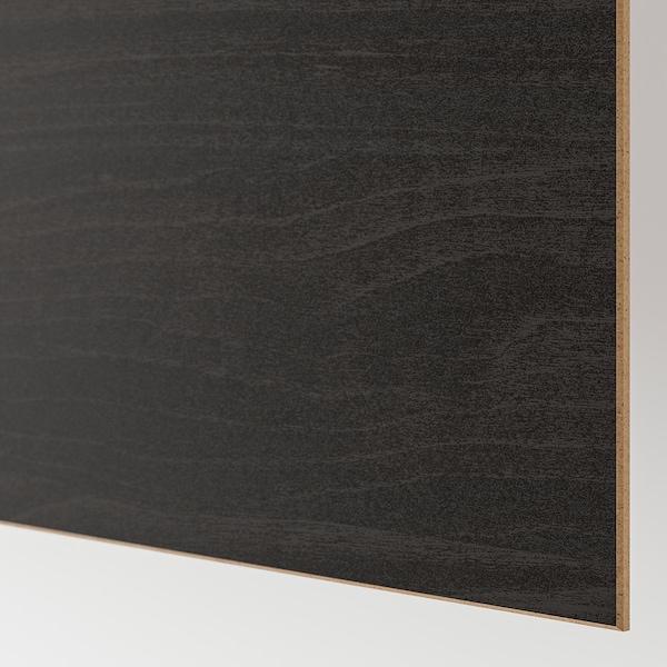 MEHAMN Pair of sliding doors, black-brown stained ash effect/brown stained ash effect, 200x201 cm