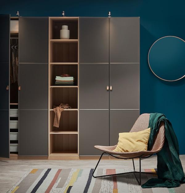 MERÅKER Door, dark grey, 50x195 cm