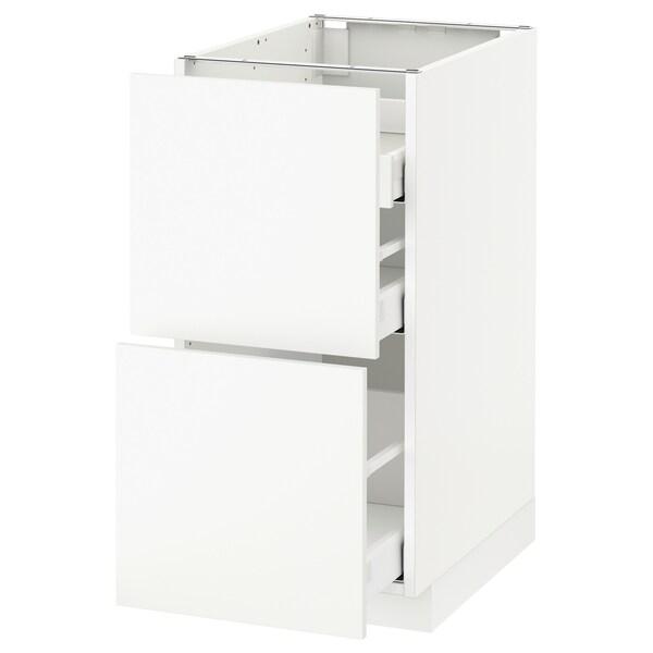 METOD Base cab f hob/2 fronts/3 drawers, white Maximera/Häggeby white, 40x60x80 cm