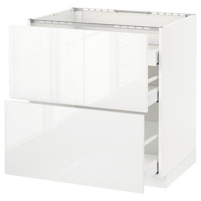 METOD Base cab f hob/2 fronts/3 drawers, white Maximera/Ringhult white, 80x60x80 cm