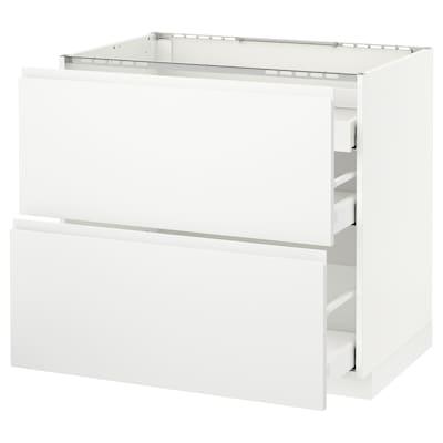 METOD Base cab f hob/2 fronts/3 drawers, white Maximera/Voxtorp matt white, 90x60x80 cm
