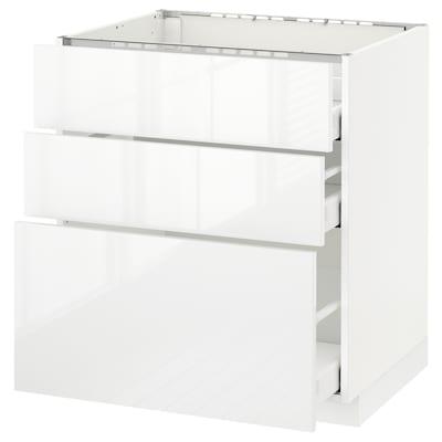 METOD Base cab f hob/3 fronts/3 drawers, white Maximera/Ringhult white, 75x60x80 cm