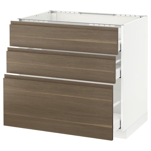 METOD Base cab f hob/3 fronts/3 drawers, white Maximera/Voxtorp walnut, 90x60x80 cm