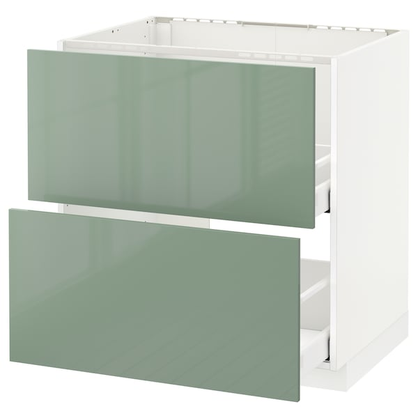 METOD Base cab f sink+2 fronts/2 drawers, white Maximera/Kallarp light green, 80x60x80 cm